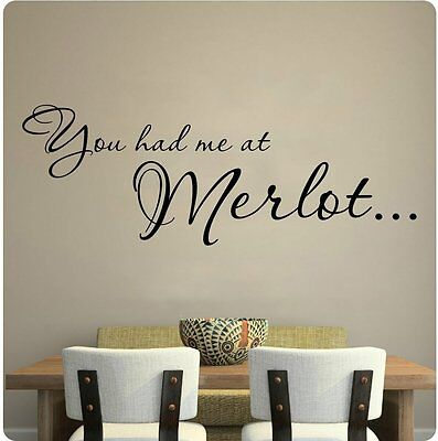 """30"""" You Had Me At Merlot Red Wine Kitchen Grapes Wall Decal Sticker Hello Quote"""