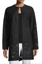 NWT $1,198 ELIE TAHARI Melody Black Laser Cut Leather Coat - M Medium (6-8)