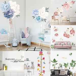 Peonia-Rosa-Fiori-Foglie-Lettera-Adesivo-Muro-Decalcomanie-Bambini-Camera-Arredamento-Regalo