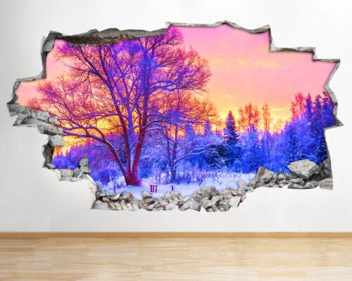 Bb549 Nuit Lune Ciel Art Applique Hiver 3d Forêt Smashed Murale AL5j34R
