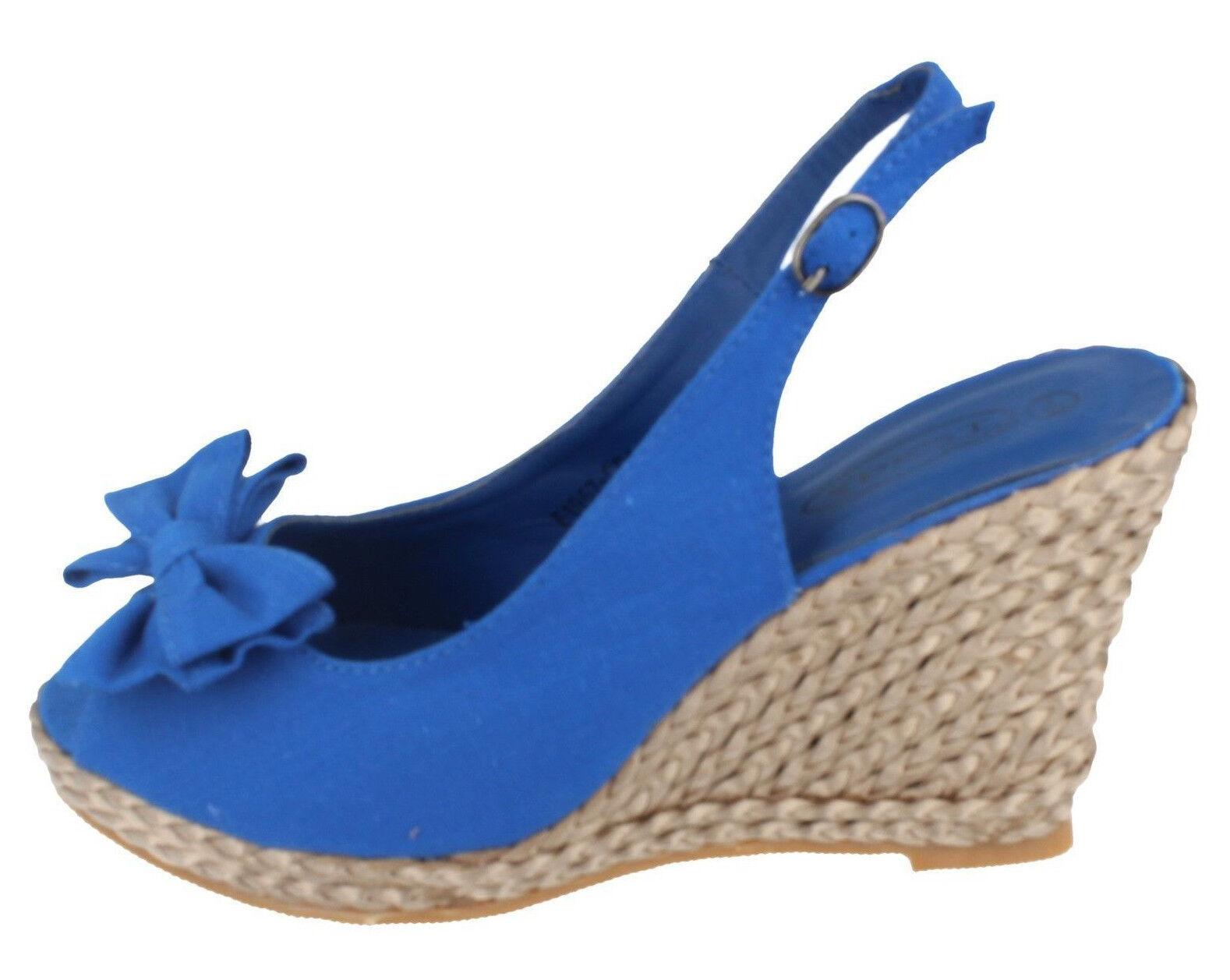 Spot on Damen blau Leinen / glänzend Seil Effekt Keil zehenfrei F1957 UK 6 (R8A)