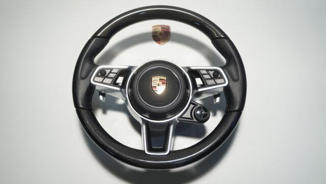 Porsche 971 958 95b Turbo Tapa Airbag Del Volante Cuero Carbono Negro Tz25