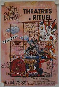 Affiche-Theatre-THEATRES-et-RITUEL-1989-illustr-CASTRO