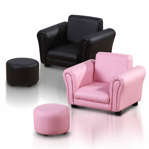 Kids-Sofa-Children-Chair-Seat-Armchair-W-Footstool-Playroom-Bedroom-Black-Pink
