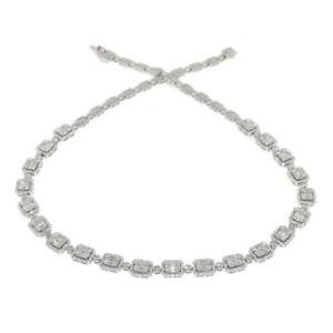 6-21-TCW-Round-amp-Baguette-Diamonds-Link-Necklace-In-14k-White-Gold-Size-16-5-034