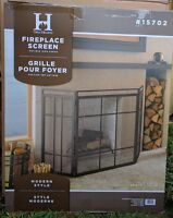 Modern Prairie Fire Screen Folding Large Black  Fire Spark guard steel