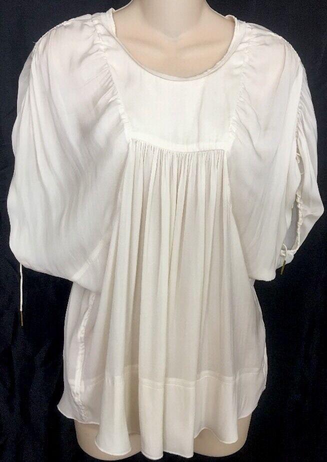 Isabel Marant Top Ivory Silk Tie Sleeves Größe 36
