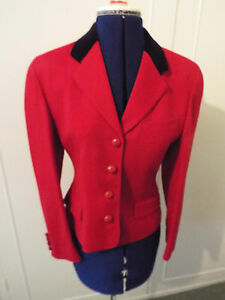 Austin Reed Red Wool Jacket With Black Velvet Collar Size 8 Ebay