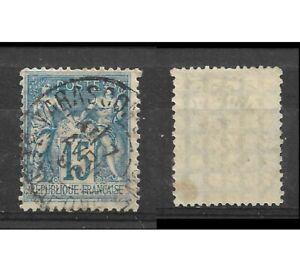 Timbre-FRANCE-N-101-15c-bleu-SAGE-type-II-1892-Obli-Tarascon-Papier-quadrille-9