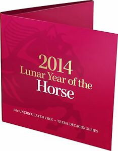 2014-50c-Lunar-Year-of-the-Horse-Tetra-decagon-Unc-Coin-in-red-folder