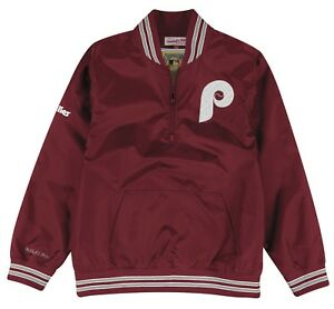 "Philadelphia Phillies Mitchell & Ness MLB Men's ""Slider"" 1/4 Zip Pullover Jacket"