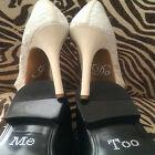 I Do & Me Too Set Bridal and Groom Shoes Sticker White Clear Acrylic Rhinestone