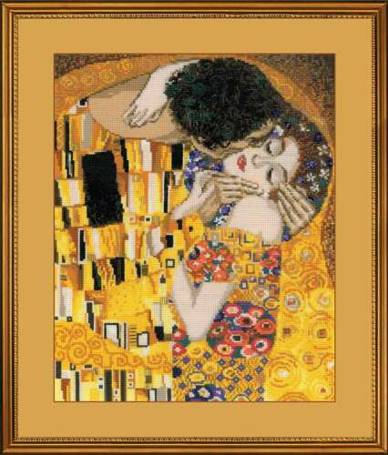 THE KISS after G Klimt/'s painting Counted Cross Stitch Kit RIOLIS