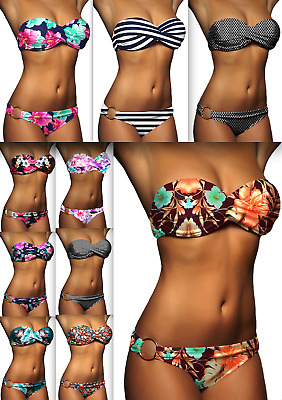 DAMEN BANDEAU BIKINI PUSH UP SET TOP HOSE AUSWAHL FARBEN PUSHUP Gr XS S M L NEU