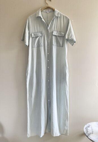 FRAME Denim Le Shirt Dress Medium Maxi Blue Denim