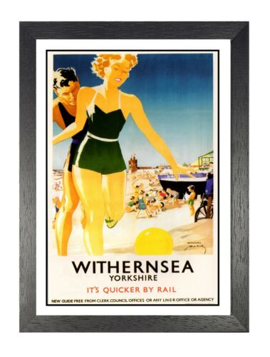 British Railway Travel Advert Old Vintage Retro Picture Poster Withernsea 3