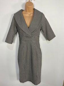 WOMENS-DOLLY-amp-DOTTY-BLACK-WHITE-GINGHAM-50-039-S-VINTAGE-ROCKABILLY-WIGGLE-DRESS-UK10