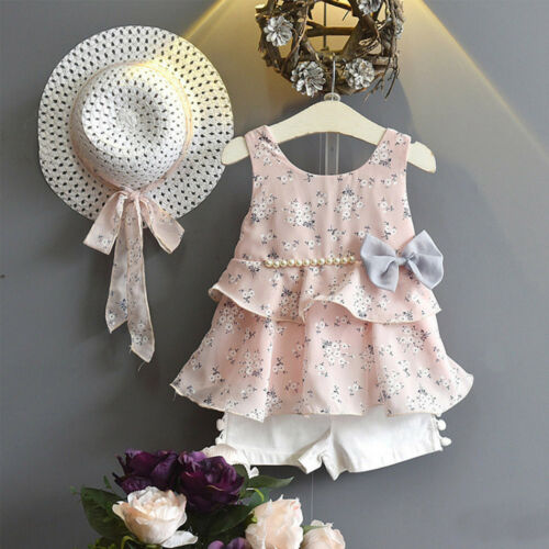 3PCS Summer Kids Toddler Baby Girl Floral Tops Shirt+Shorts Pants+Sun Hat Outfit
