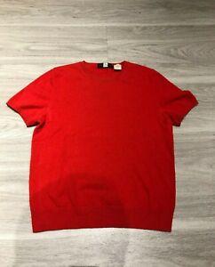 Vintage-90s-Saks-Fifth-Avenue-Short-Sleeve-100-Cashmere-Sweater-Shirt-Womens-M