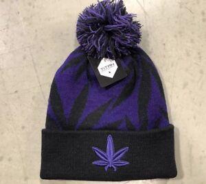 dfebc6cc107 Purple Kush MARIJUANA weed POT LEAF winter SKI knit BEANIE pom CAP ...