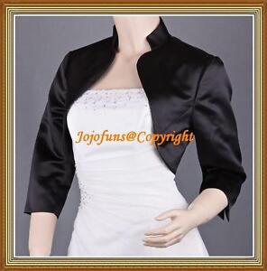 Black-Satin-Wedding-3-4-Sleeve-Shrug-Prom-Bolero-Capelet-Coat-Jacket-Cover-Up
