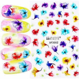 Nail-Art-Pegatinas-Transfers-Calcomanias-De-Agua-Flores-de-primavera-Floral-Tulipanes-XF3002