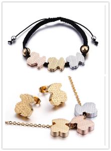 Acier Inoxydable Love Bear Collier Boucles d/'oreilles Bracelet Ensemble
