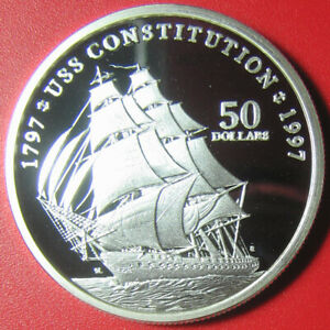 1997-MARSHALL-ISLANDS-50-PROOF-1oz-SILVER-USS-CONSTITUTION-USA-NAVY-BATTLE-SHIP