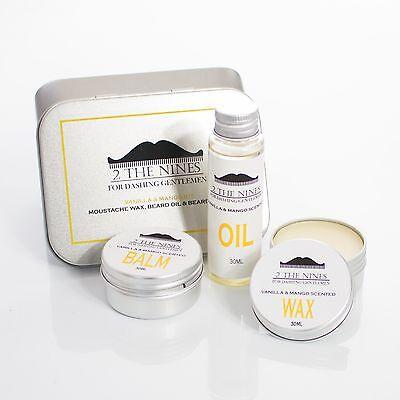 2 The Nines™ Moustache Wax, Beard Oil & Balm - Grooming Kit (Vanilla & Mango)