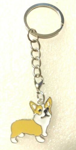 Corgi Dog Tan White Pup Purse Charm Zipper Pull Key Ring Keychain Jewelry