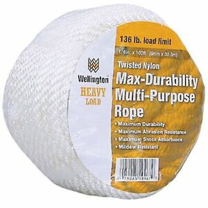 WELLINGTON CORDAGE 11002 1/2-Inch X 50-Feet White Nylon Rope
