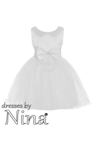 Flower Girl Party Frock Bridesmaid Dress White With Pearl Detail 1-9 Years