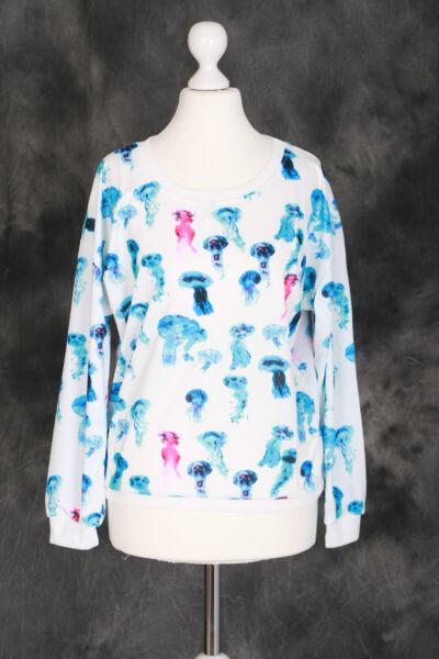 T-13 weiß Neon Qualle Jellyfish blue Sweatshirt Pullover Japan Harajuku Trend