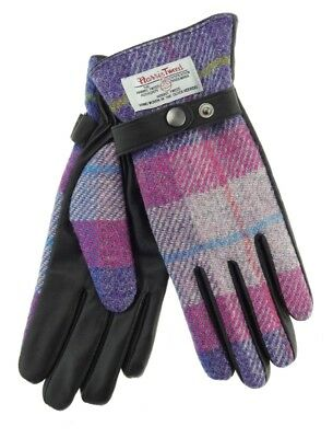 Ladies Authentic Harris Tweed /& Leather Gloves Lilac//Pink Check LB3001 COL47