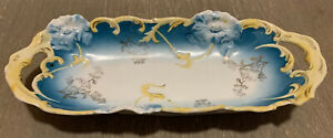 VTG-Weimar-Germany-Butter-Bread-Serving-Dish-Tray-Luster-Ware-with-Gilding