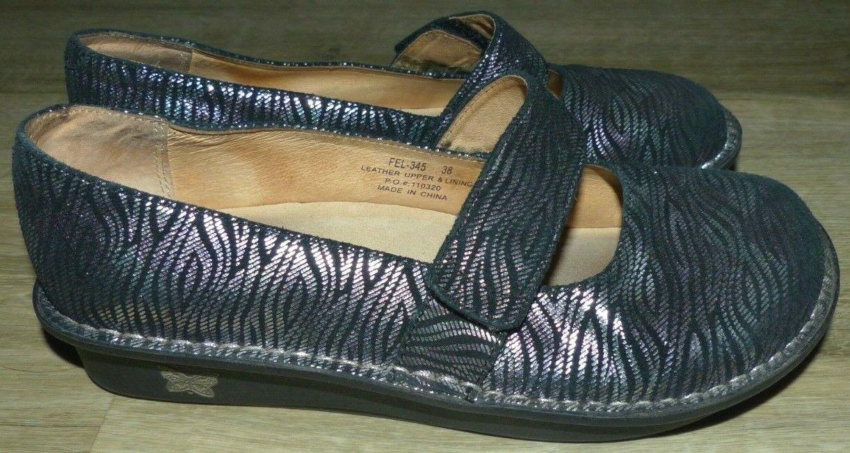 Women's Size 38 8 8.5 Alegria Feliz Silver Purple Foil Leather Mary Jane Shoes
