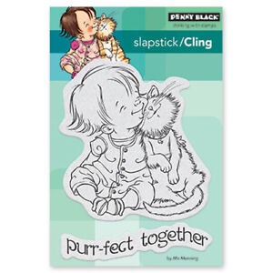 New Penny Black HANGING OUT Slapstick Cling Rubber Stamp Cats Love Friends