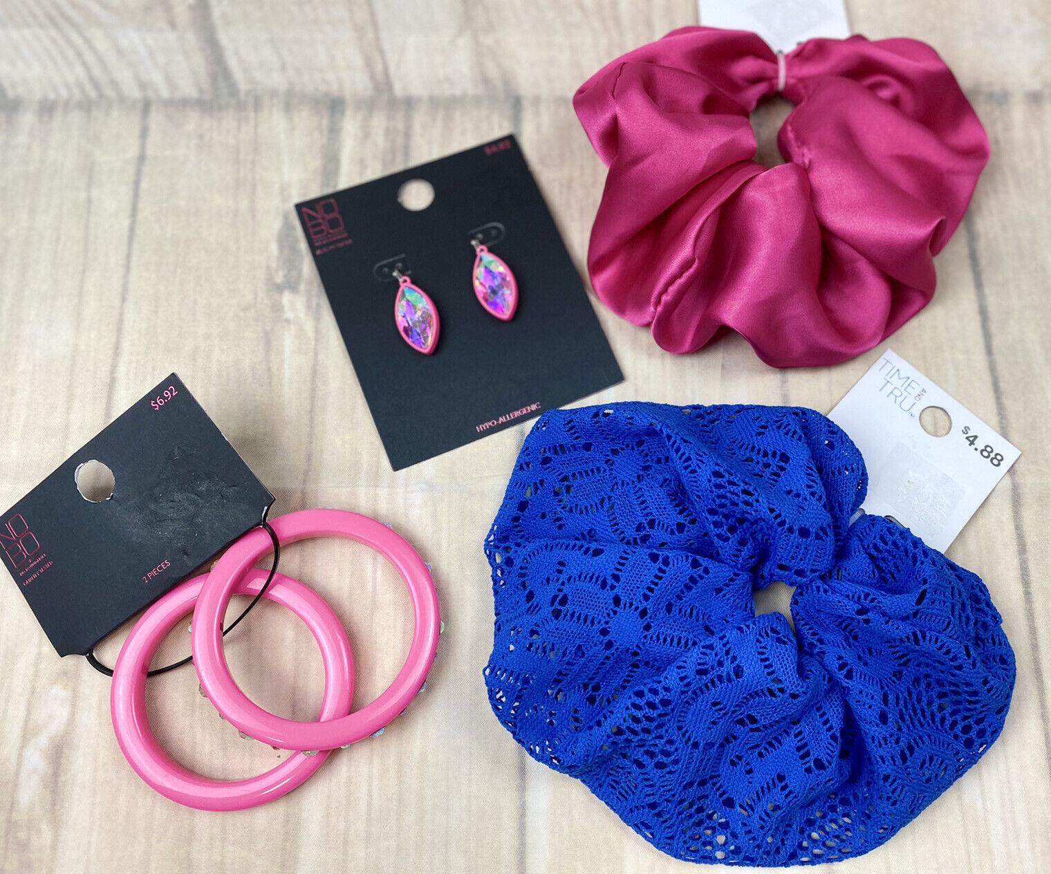 Time & Tru No Boundaries Large Hair Scrunchies Neon Pink Bracelet Earrings NEW