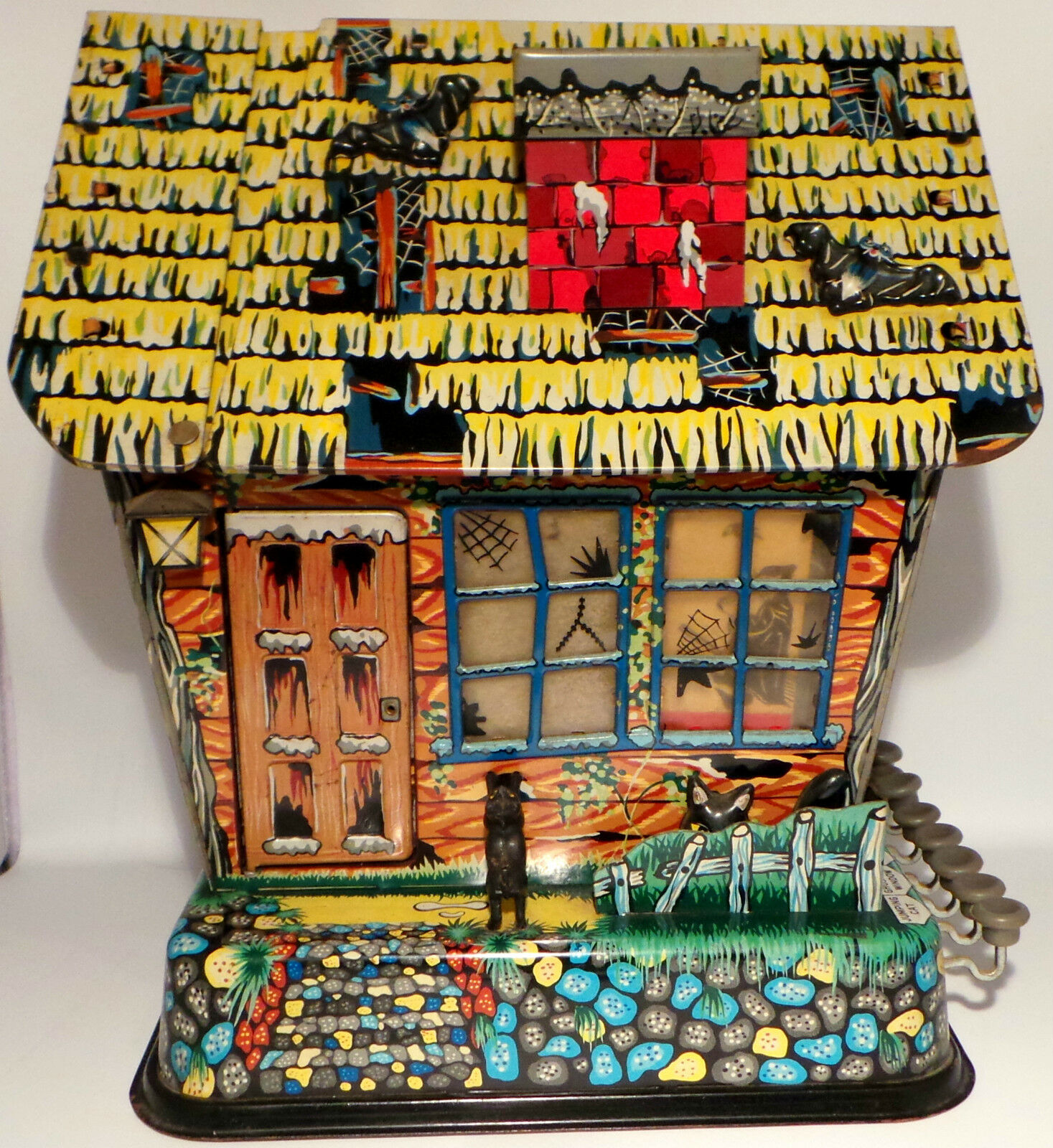 HORROR   MARX TOYS - TINPLATE HAUNTED HOUSE MODEL MADE CIRCA 1960'S. (MLFP)