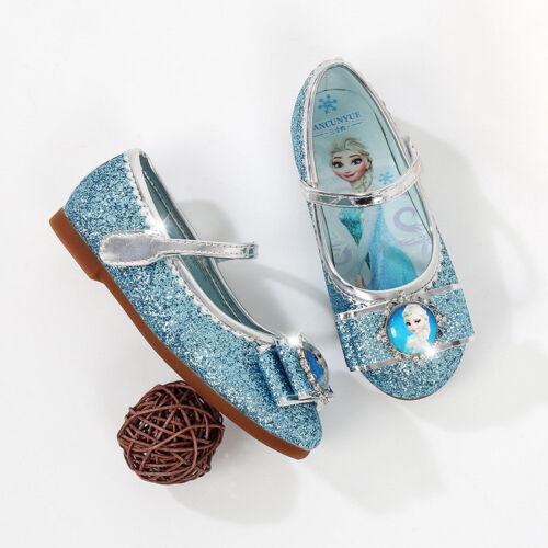 Little Baby School Girls Birthday Princess Elsa Anna Blue Dress Dance Shoes Soft