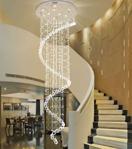 Details About Crystal Rain Drop Chandelier Pendant Lamp Ceiling Light Spiral Lighting