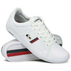 mens lacoste shoes europa white leather casual sneakers