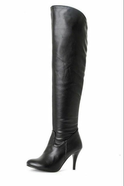 Women's High Heels Stilettos Zip Over Knee Thigh Boots shoes Pointed Toe PLUS Sz