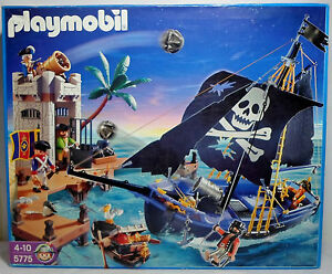 GEOBRA-PLAYMOBIL-2006-5775-PIRATES-PIRATE-ATTACK-SHIP-amp-PRISON-SET-SEALED