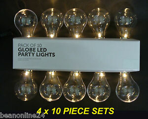 4x10 Piece Large LED Clear Festoon / Party Globe String Light Kit eBay