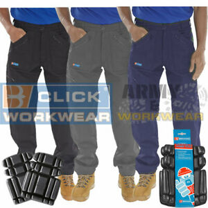 recognized brands united states discount collection Details about Click Action Mens Work Trousers Pants Multi Zipped Combat  Pockets FREE KNEE PADS