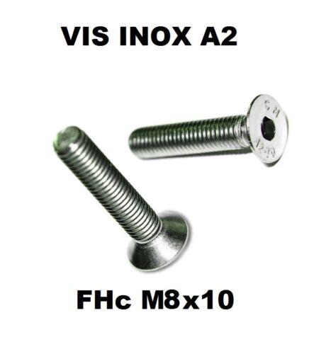 Quantité = 12 BTR Vis FHC M8 x 10 INOX A2 6 pans creux tête fraisée