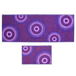 JVL-Violet-Cercles-lavable-en-machine-Latex-soutenu-Porte-Tapis-amp-entree-Runner-Pack