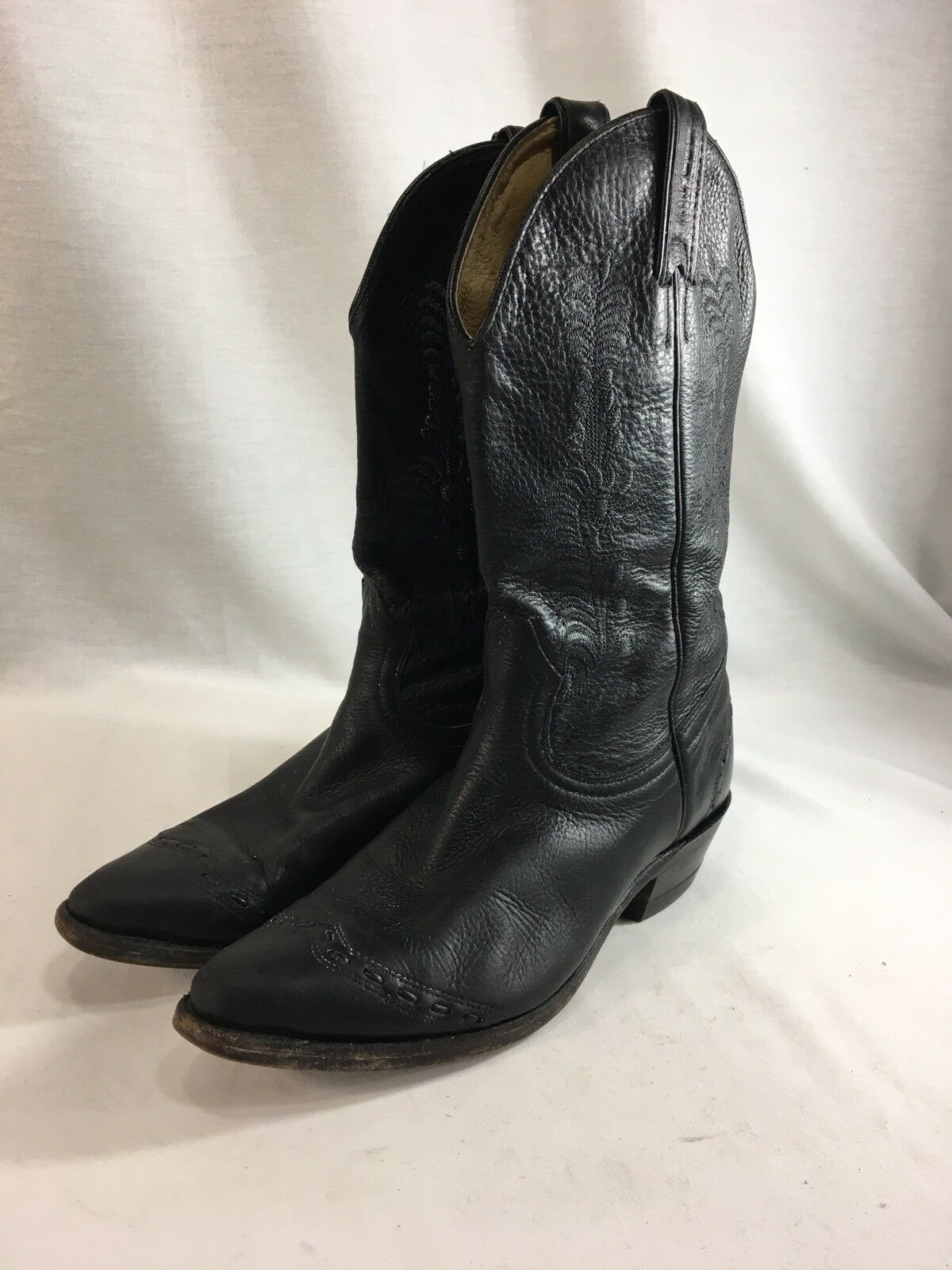 Boulet Cowboy Western stivali donna 7.5 nero Leather Block Heel Pointed Toe