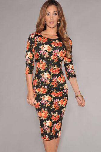 Noir pour femme motif floral imprimé manches mi-longues midi robe moulante celeb Taille 10 /& 12